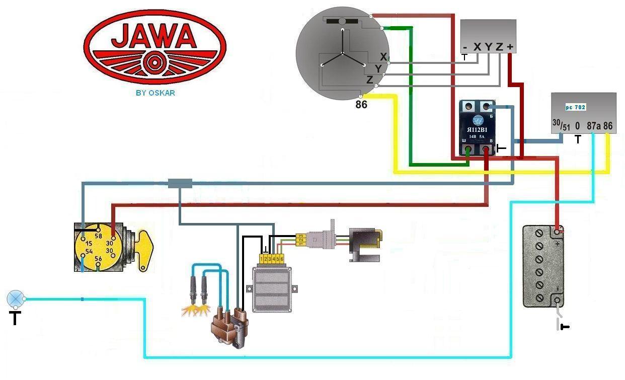 Оригинальная схема проводки ява 12 в цена переделки с 6 вольт на.
